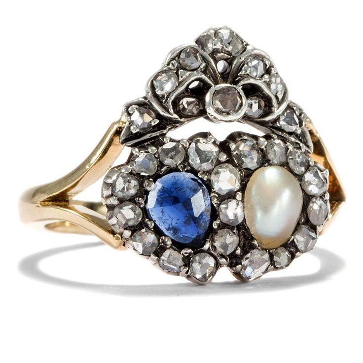 Liebesgeschenk: Saphir, Naturperle & Diamant Herz Ring Gold & Silber…