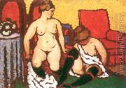 Girls Getting Dressed red furniture and yellow wall 1912-13