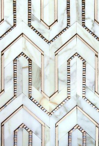Metallic Tile, Pattern, Gold and White