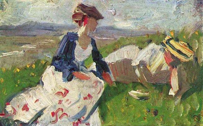 Франц Марк. Две женщины на горе. 1906 год. Холст, бумага. Галерея Штангль, Мюнхен.