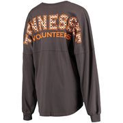 Tennessee Volunteers Women's Gingham Plaid Fill Lightweight Oversized Spirit Jersey Top - Charcoal