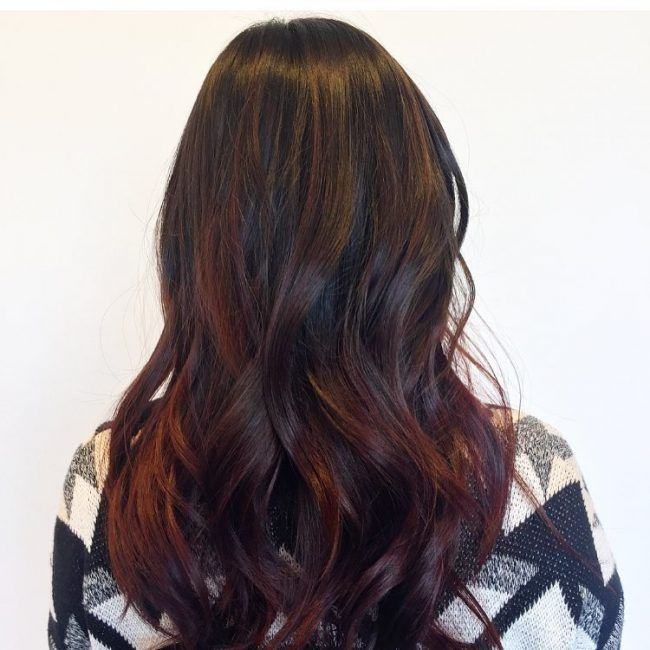 Burgundy Hair with Hand Painted Highlights