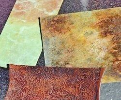 More Than 50 Shades: Adding Luscious Color to Your Metal Jewelry with Patinas and learn how to get dozens of free patina recipes to create unique designs on metal like these.
