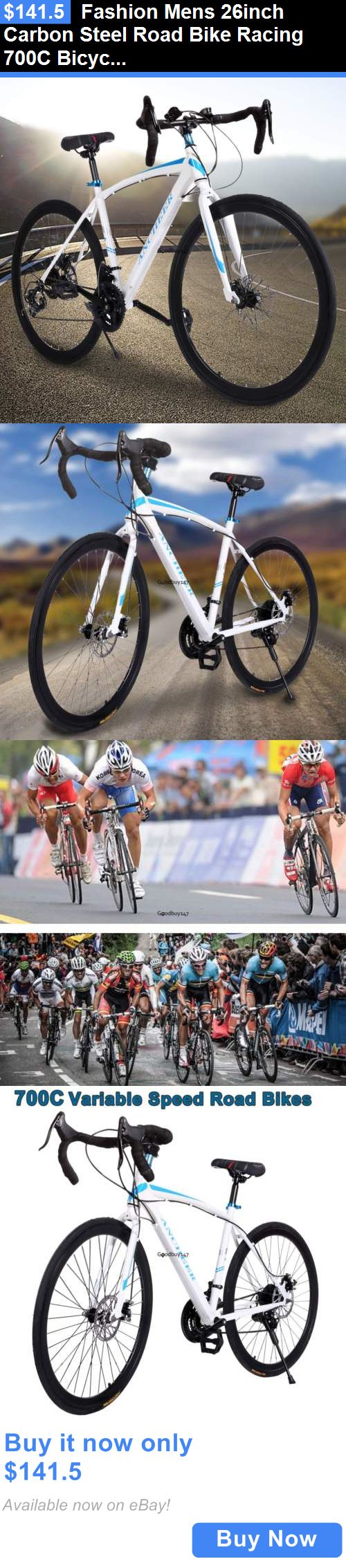bicycles: Fashion Mens 26Inch Carbon Steel Road Bike Racing 700C Bicycle 21 Speed White BUY IT NOW ONLY: $141.5