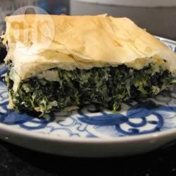 Spanakopita (Greek spinach pie) @ allrecipes.co.uk Ingredients Serves: 5 3 tablespoons olive oil 1 large onion, chopped 1 bunch spring onions, chopped 2 cloves garlic, minced 1kg spinach, rinsed and chopped 30g chopped fresh parsley 2 eggs, lightly beaten 125g ricotta cheese 250g crumbled feta cheese 8 sheets filo pastry 4 tablespoons olive oil