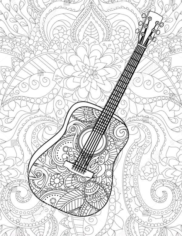 Guitar Coloring Book Page Shutterstock Coloring Books