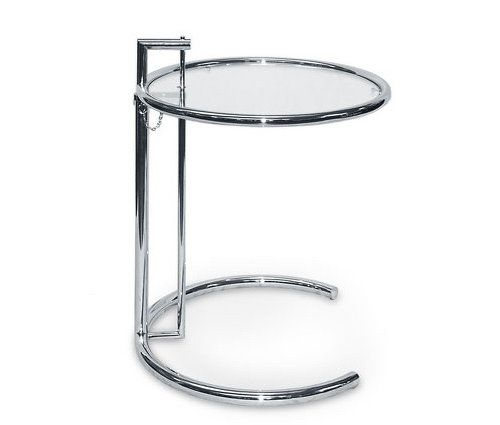 Tavolino regolabile in vetro rotondo Eileen Gray