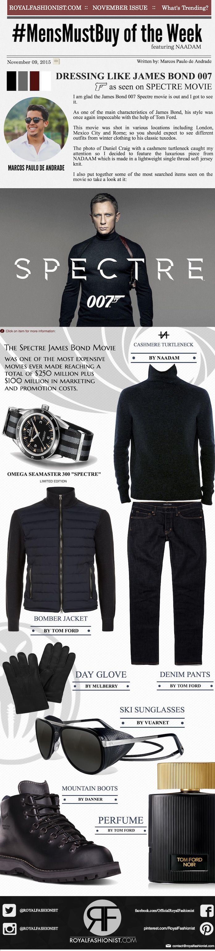 Copy James Bond's Turtleneck Outfit From Spectre Movie | Royal Fashionist