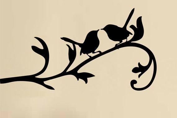 Decal Plaza Reinvent your space! Item Title LOVE BIRDS ON BRANCH Item Description Size : 20cm x 38cm 8 X 15 · Color : BLACK or