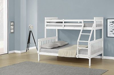 New Cheap White Solid Wooden Pine Triple Sleeper Bunk Bed Double & Single Size