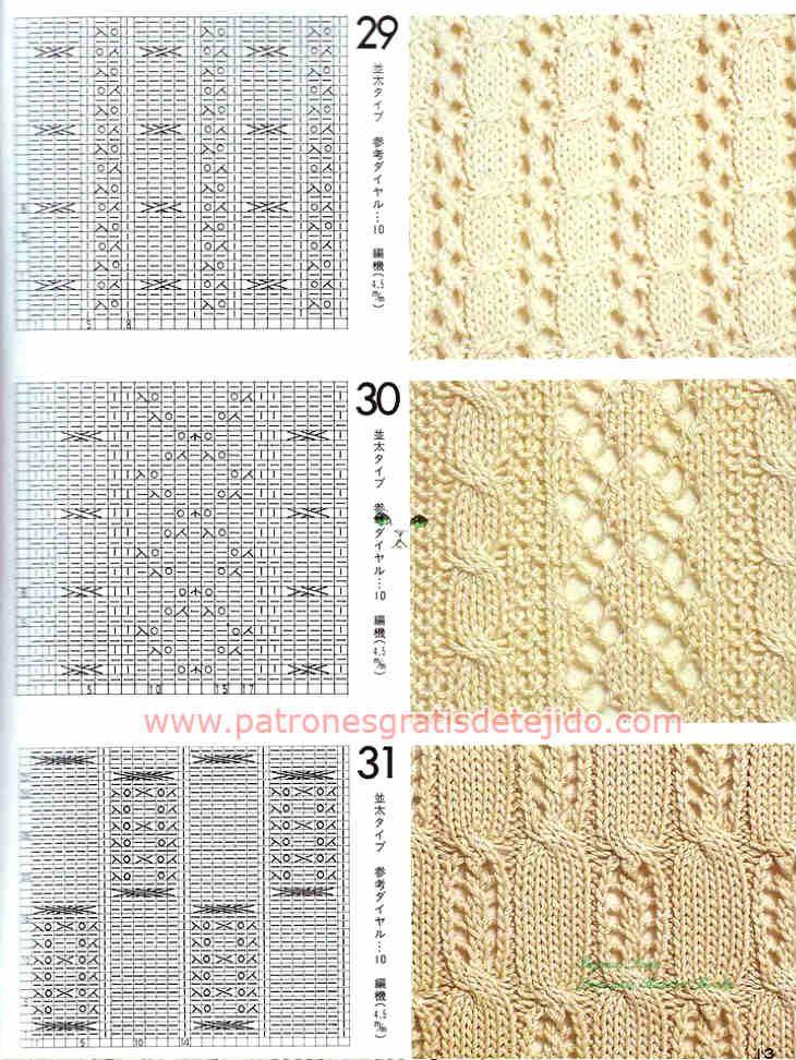 Cuarenta patrones de puntadas de tejido a dos agujas | tejido 2 ...