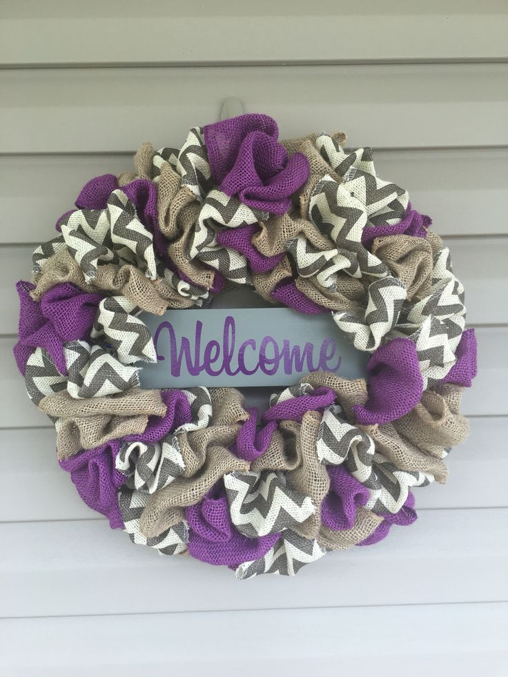 Purple burlap chevron wreath