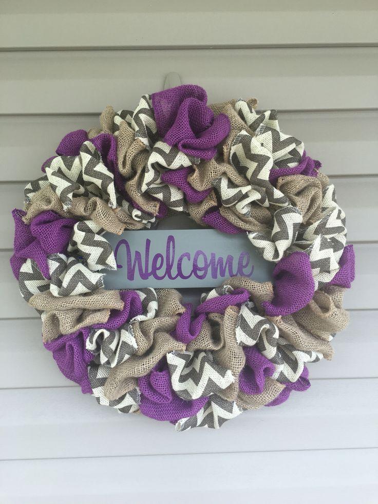 Purple burlap chevron wreath