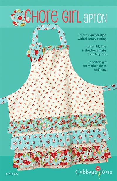 Cabbage Rose: Chore Girl Apron pattern ... quiltinaday