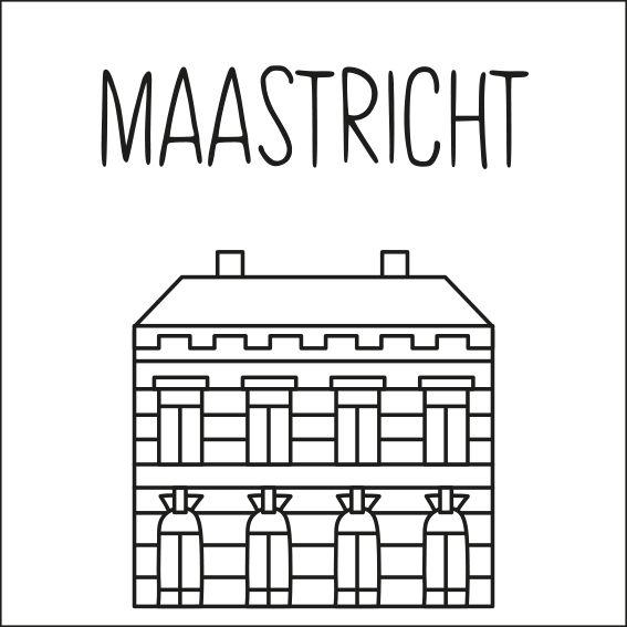 Haal een beetje van Maastricht in huis met deze leuke 'straat' #raamtekening met een paar van de bekende gebouwen: Dinghuis, Bonnefantenmuseum, Stadhuis, Sint Servaasbrug en Mooswief, Helpoort, Bonbonnière, Sint Janskerk en Centre Céramique.