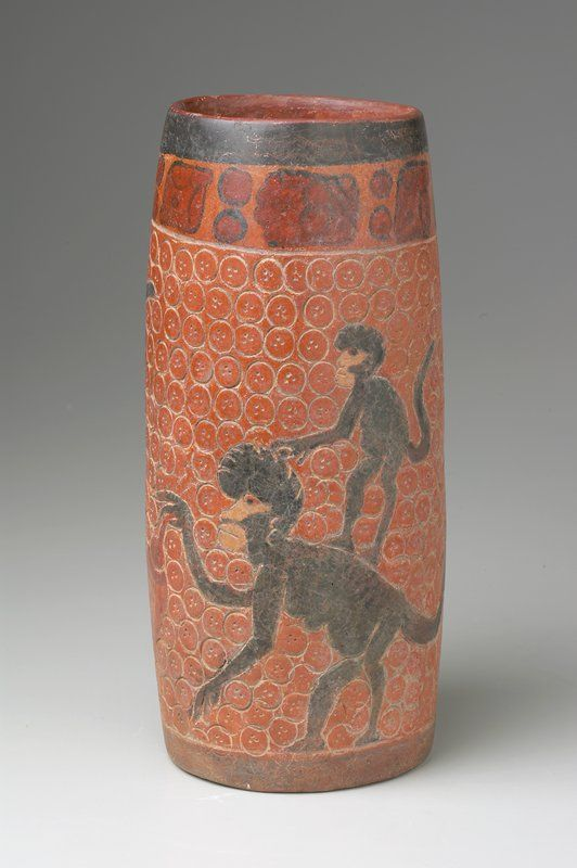 Maya Vessel, Howler Monkeys, mother and child, with mother holding cacao pod, Peten-Yucatan, 450-700 CE (Photo courtesy of Minneapolis Institute of Art)