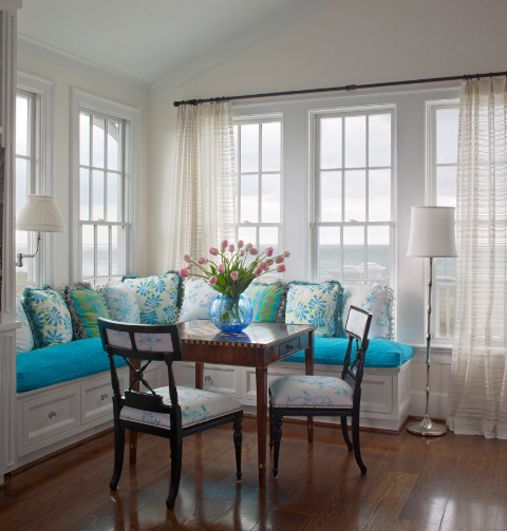 Teal color scheme #color #palette #teal #blue #summer #kitchen #dining #room #breakfast #nook #bench