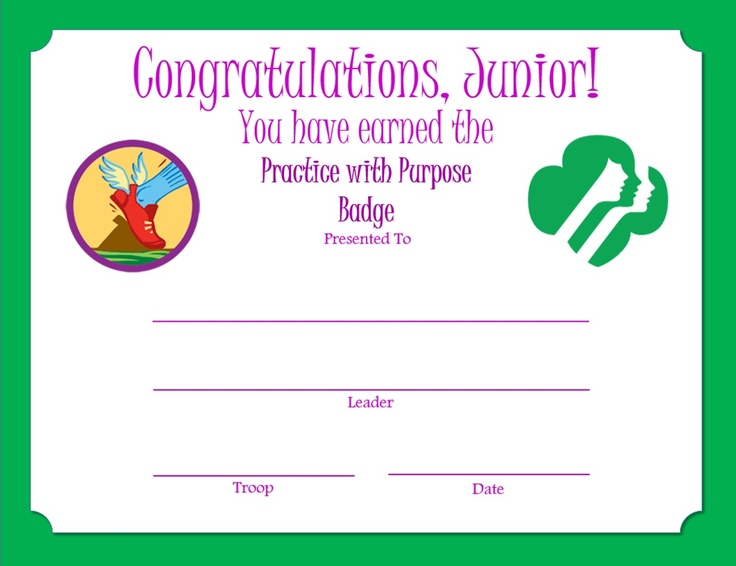 1000+ images about Practice with Purpose Badge - Junior Girl Scout ...