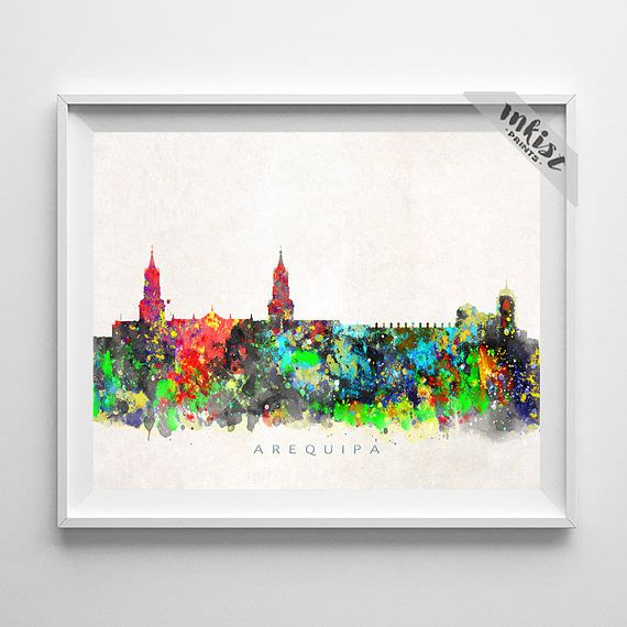 Arequipa Skyline Print, Peru Print, Arequipa Poster, Watercolor Art, Wall Decor, City Art, Giclee, Living Room Decor, Christmas Gift. Wall Art. PRICES FROM $9.95. CLICK PHOTO FOR DETAILS. #inkistprints #skyline #watercolor #watercolour #giftforher #homedecor #nursery #wallart #walldecor #poster #print #christmas #christmasgift #weddinggift #nurserydecor #mothersdaygift #fathersdaygift #babygift #valentinesdaygift #dorm #decor #livingroom #bedroom