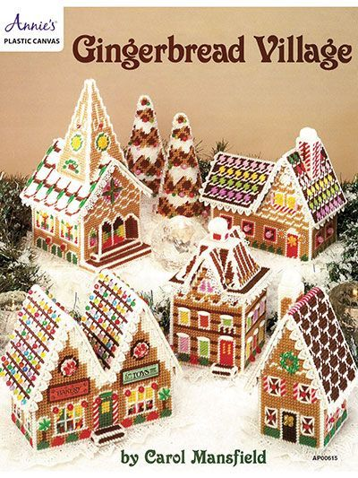 "What says Christmas better than a gingerbread house? Pattern includes a complete grouping of charming houses, stores, trees and a church. All are stitched on 7-count plastic canvas. You will love ""icing"" them with lace and decorating with b..."