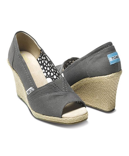 TOMS Ash Canvas Madras Wedge