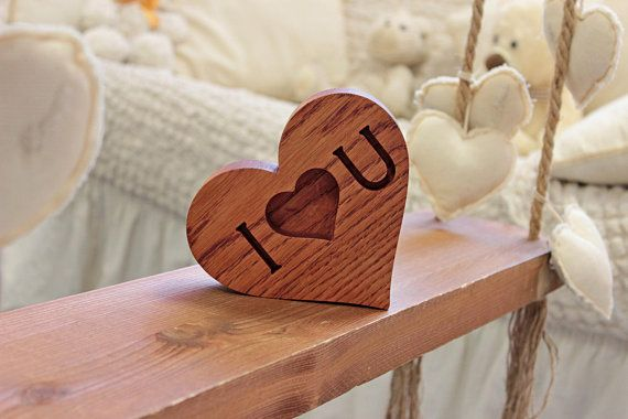Solid wood heart I love you Lovable wooden sign Nature lover gift for her Desk, shelf or mantel decor Trending now unique gift idea for him
