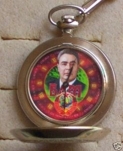 RUSSIAN CCCP SOVIET LIDER LEONID BREJNEV POCKET WATCH