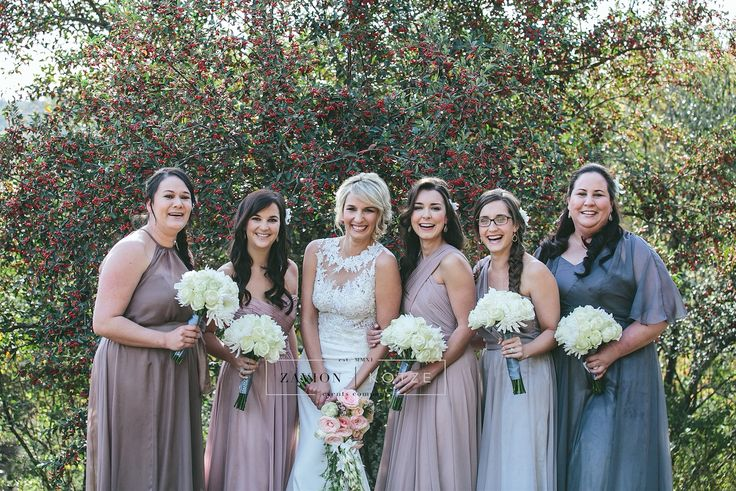 Beautiful simple wedding bouquets for the bridesmaids and a glamorous asymmetrical bouquet for the bride. Zavion Kotze Events Company -Weddings, Luxury Weddings, Bride to be, Wedding day, bride, wedding flowers, wedding hour, wedding season, decor, décor.