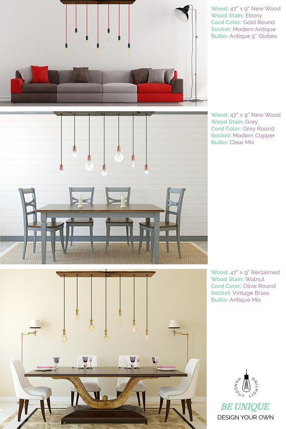 Sala da pranzo lampadario lampadina di Edison Tutti i lampadari sono personalizzati e fatti a mano su ordinazione qualsiasi modo che si sceglie. Basta lasciare una nota durante il checkout per specificare le opzioni personalizzate! Vedere il listato foto per tutte le scelte