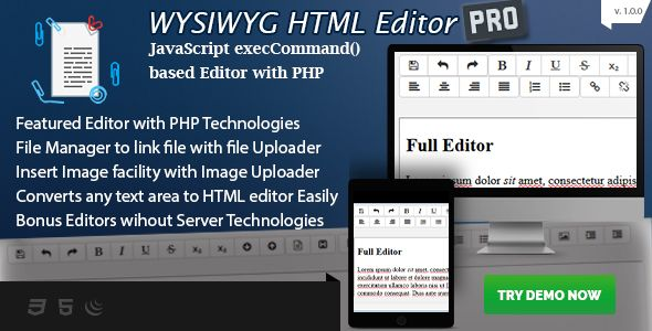 WYSIWYG HTML Editor PRO - PHP based Editor with Image Uploader and more - https://codeholder.net/item/php-scripts/wysiwyg-html-editor-pro