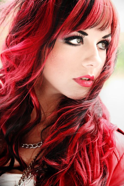 Pink/red and black hair