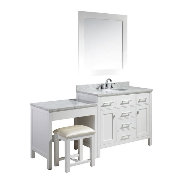 Design Element London 72 Inch Single Sink White Vanity Set With Makeup Table And Bench Seat By Design Element