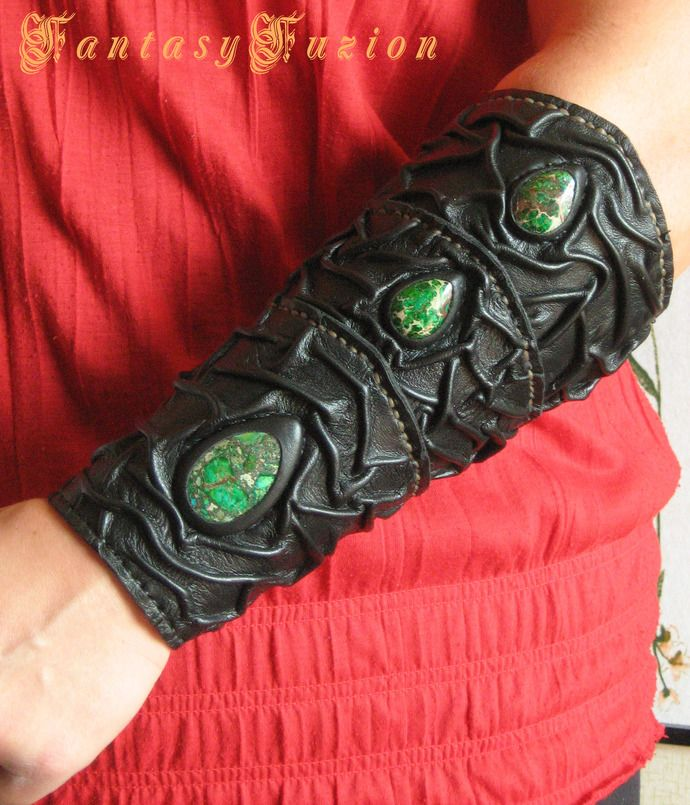 Medieval Sorcerer Wizard Druid Warrior Queen Witch Leather Forearm Bracer with Green Gemstones by FantasyFuzion, $69.99 USD
