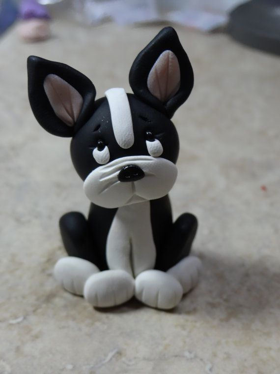 Boston Terrier Dog Clay Figurine by ClayCreationsbyLaura on Etsy