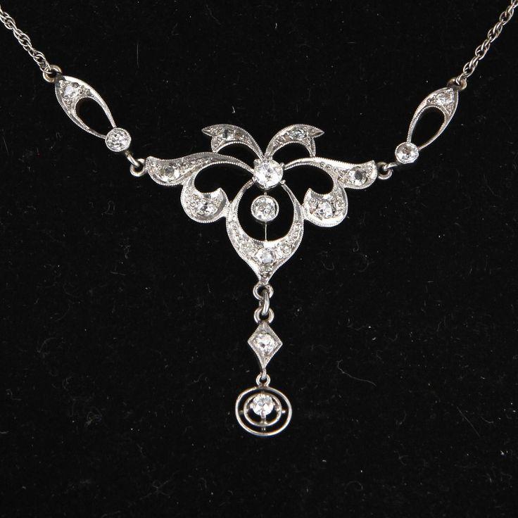 Vintage art deco diamond choker necklace 14 karat white for 14 karats fine jewelry