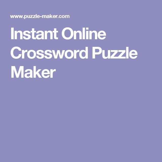 Instant Online Crossword Puzzle Maker