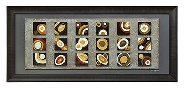 This dimensional piece features 18 high gloss blocks highlighted in mustards, greens, and deep reds. Set on a highly textured pearl paint block and finished with a black mat and frame.