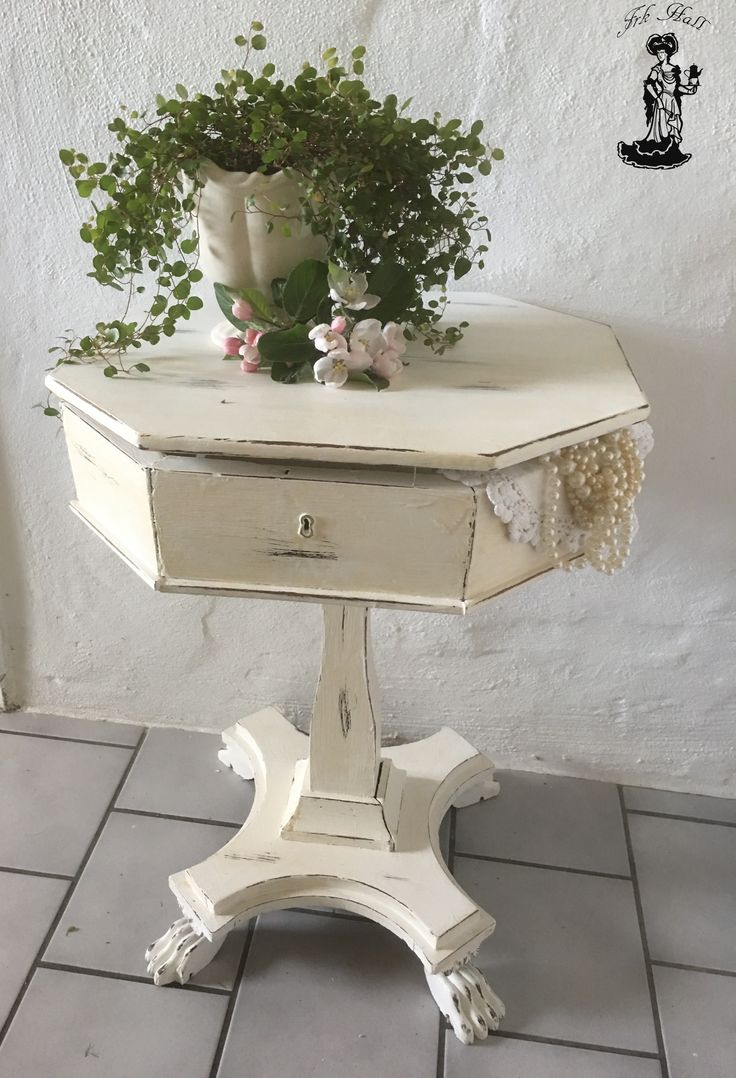 very old white painted shabby chic sewing table, very romantic and beautiful
