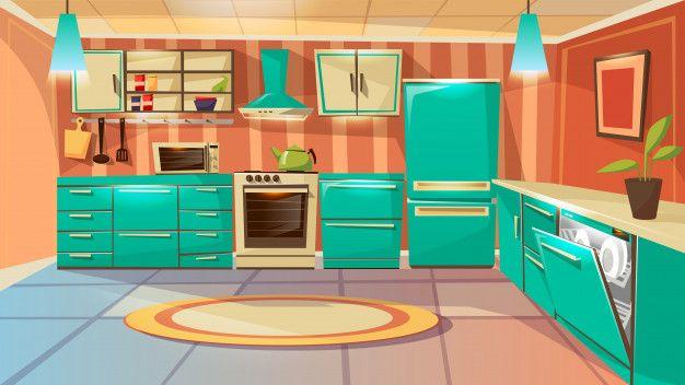 Download Modern Kitchen Interior Background Template Cartoon Dinner Room With Furniture For Free Modern Kitchen Interiors Kitchen Background Kitchen Furniture Design