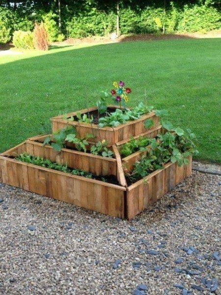Huerto pirámide hecho con pallet/palet  para las hierbas de cocina y flores que mas te gusten.
