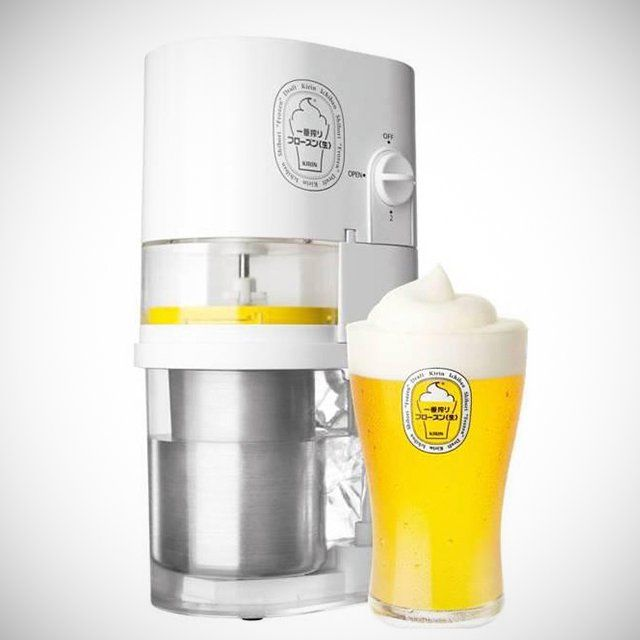 "Frozen Beer Slushie Maker by Kirin Ichiban.-  Get a cold cap on your beer and enhance your thirst-quenching drinking experience with the Frozen Beer Slushie Maker by Kirin Ichiban. Created by Kirin, one of Japan's top drink manufacturers, this is part of a big recent trend in ""cold"" or even ""super cold"" beers in Japan. These ""frozen beer"" slushies were a huge hit for Kirin when it opened special beer gardens serving them in Tokyo in 2012."