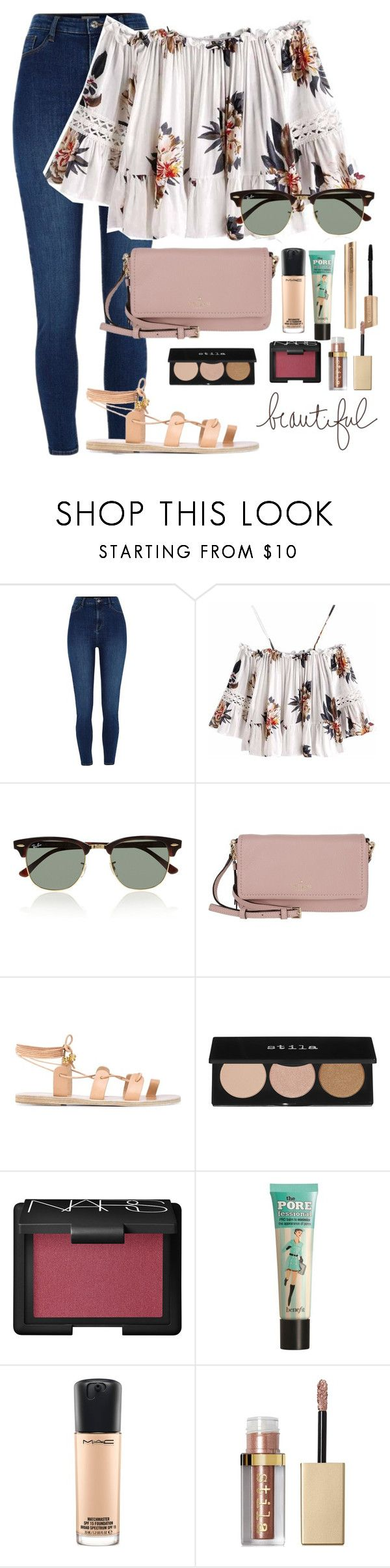 """""""why don't you just meet me in the middle"""" by dianaheart on Polyvore featuring River Island, Ray-Ban, Kate Spade, Ancient Greek Sandals, Stila, NARS Cosmetics, Benefit and MAC Cosmetics"""
