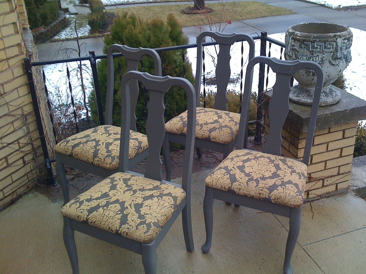 4 Taupe Grey French Shabby Painted Vintage Dining Chairs Newly Upholstered  In Gold Velvet Damask