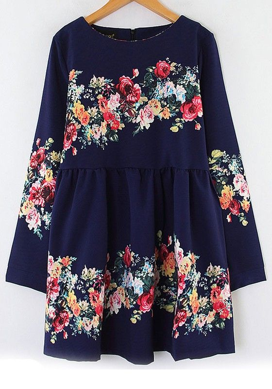 Navy Floral Print Long Sleeve Cotton Blend Dress