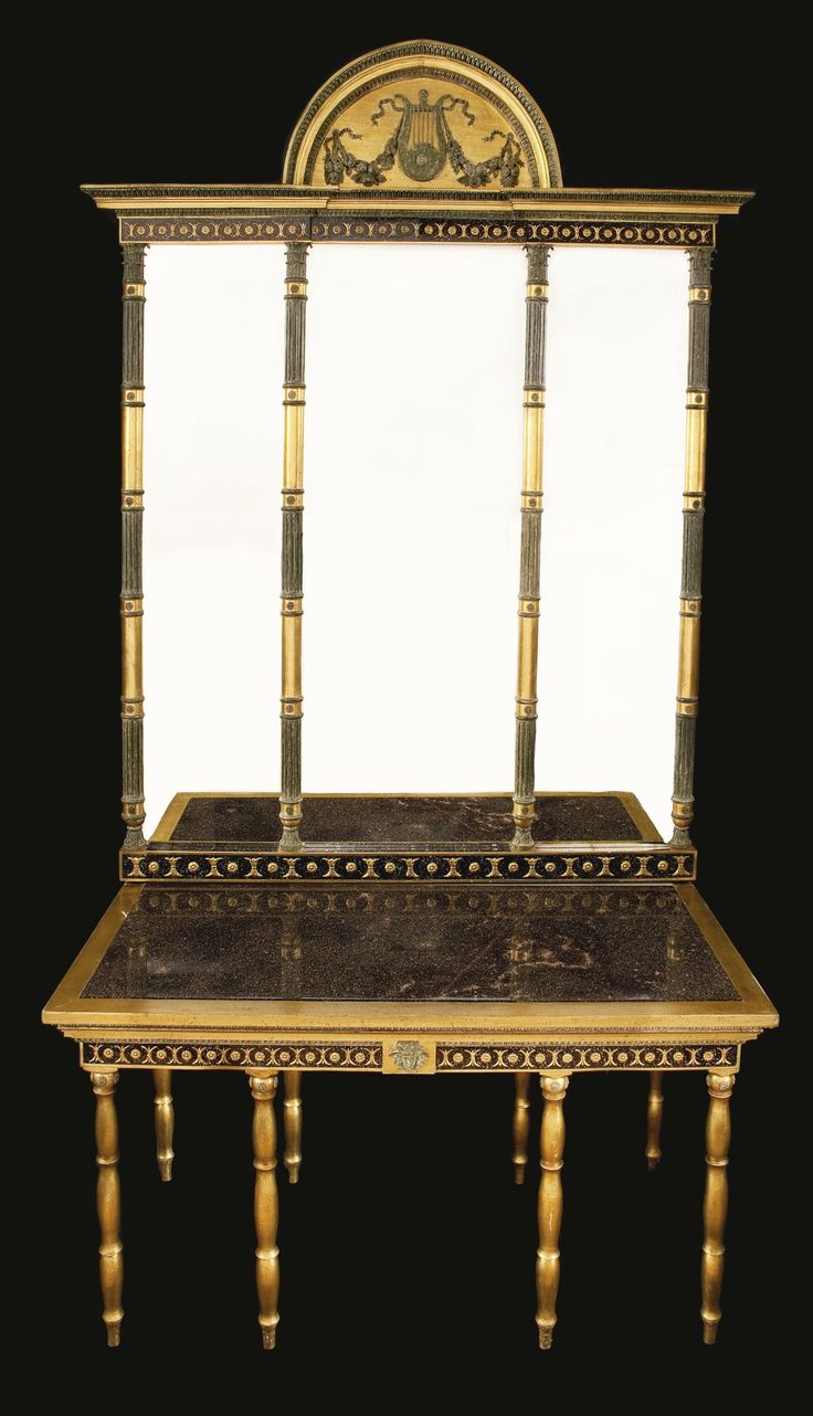 A KARL XIV JOHAN NEOCLASSICAL GILTWOOD AND GRAY-PAINTED CONSOLE TABLE AND MIRROR, ATTRIBUTED TO PEHR GUSTAV BYLANDER<br>circa 1820 | Lot | Sotheby's