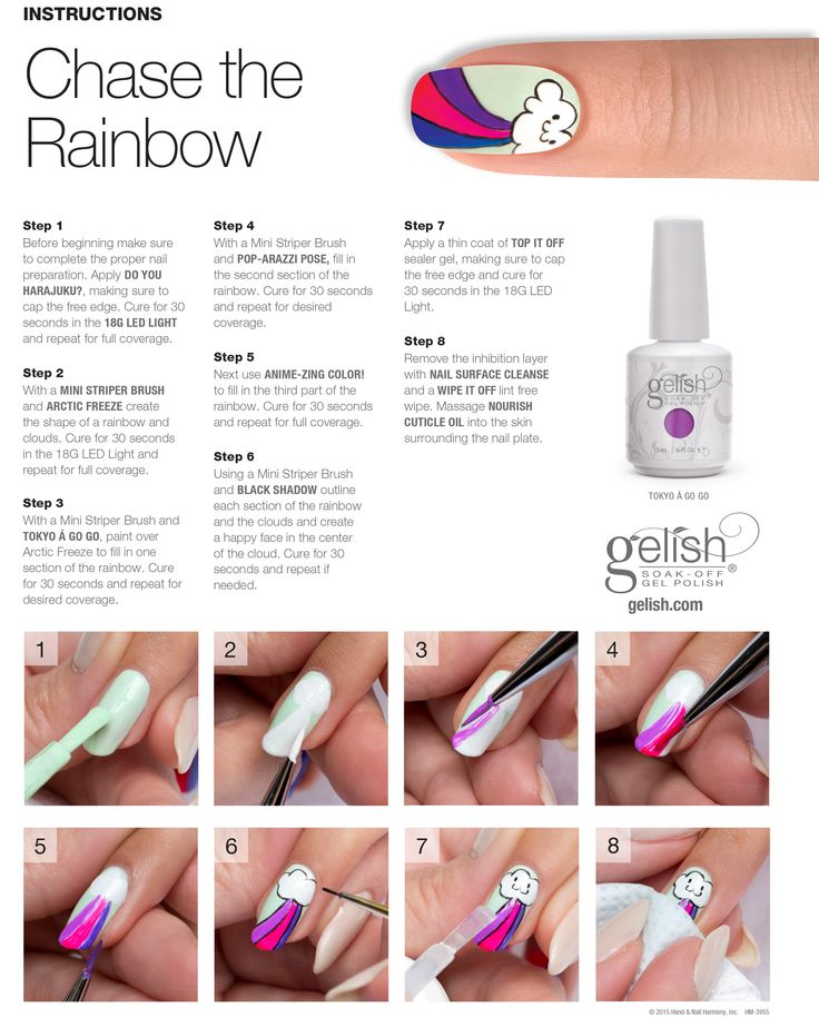 "Gelish Hello Pretty Step by Step ""chase the rainbow"" #gelish #nailart"