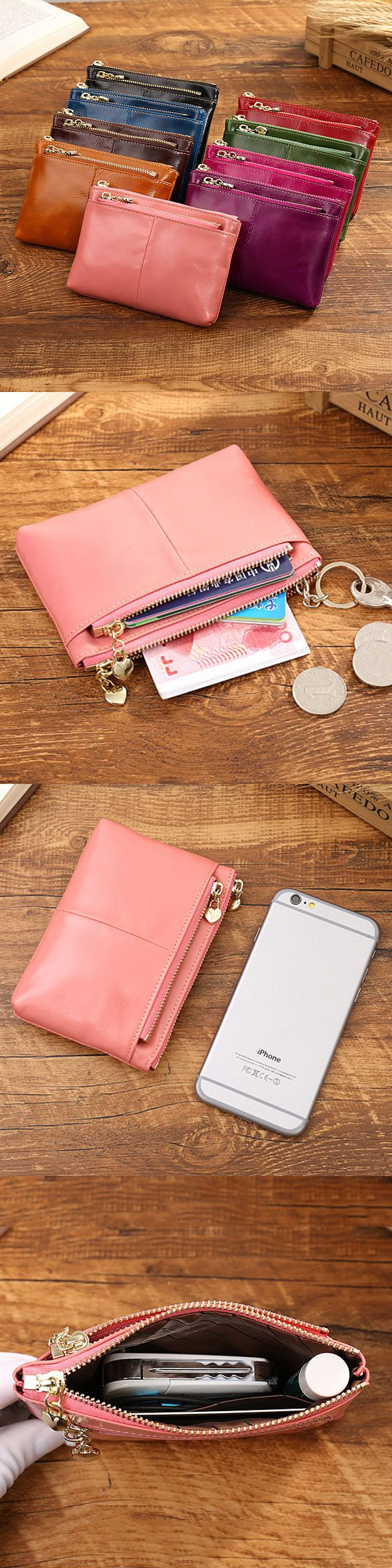 US$12.93 Women Genuine Leather Vintage Pure Color Wallet_ Coins Bags_ Card Holder_ Change Bags