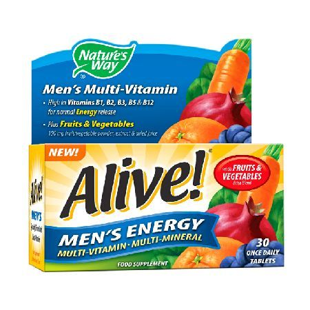 Natures Way Alive! Mens Energy Multi-Vitamin Alive! Mens Energy 30 one-a-day tablets. High in Vitamins B6, B12  Vitamin C with Copper for normal Immunity and Energy release Plus dried blend of 26 Fruits  Vegetables, Green Tea Extract, Flax Lig http://www.MightGet.com/january-2017-12/natures-way-alive!-mens-energy-multi-vitamin.asp