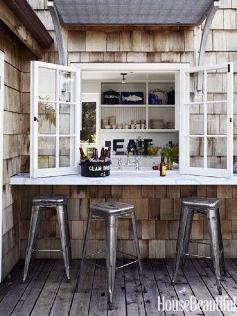 Attach a table to the outside window and you have an outdoor eatery in your backyard! I SO love this idea !!