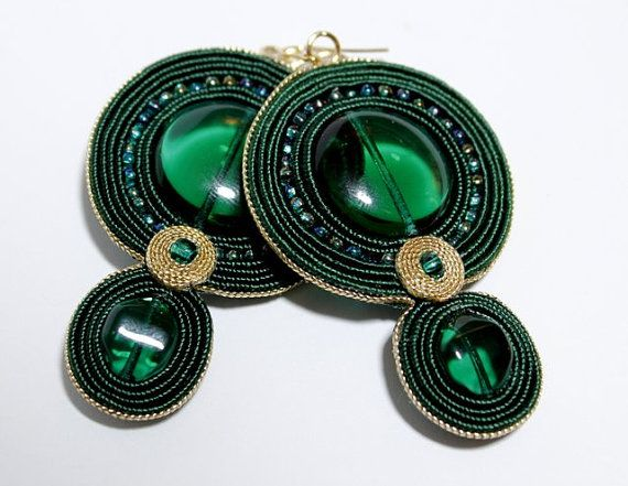 Soutache Jewelry Soutache Earrings Green Earrings Green by Herinia, $35.00